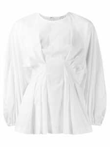 Enföld ruched long-sleeve top - White