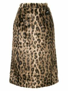 Markus Lupfer leopard print skirt - Brown