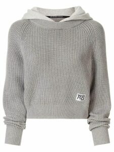 Alexander Wang layered style ribbed knit hoodie - Grey