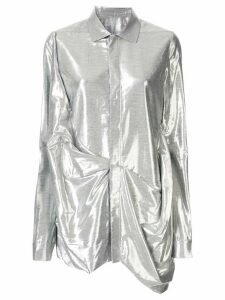 Rick Owens metallic gathered shirt - SILVER