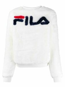 Fila textured central logo sweatshirt - White