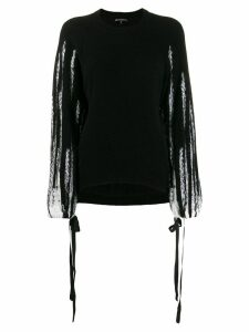 Ann Demeulemeester striped sleeve jumper - Black