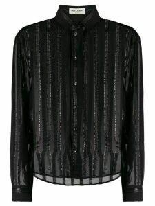 Saint Laurent pinstriped sheer shirt - Black