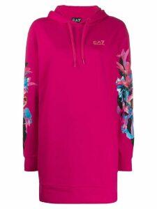 Ea7 Emporio Armani long floral printed hoodie - PINK