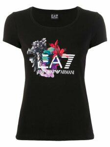 Ea7 Emporio Armani short sleeve floral print T-shirt - Black