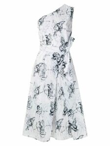 Andrea Marques printed pleat dress - White