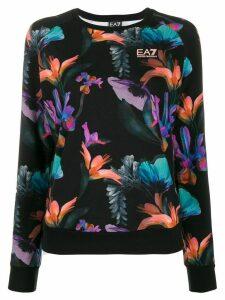 Ea7 Emporio Armani floral print sweatshirt - Black