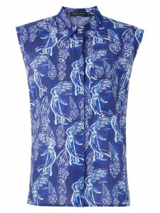 Andrea Marques structured shoulders printed shirt - Blue