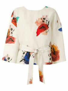 Andrea Marques printed wrap blouse - Multicolour