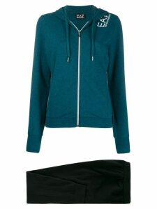 Ea7 Emporio Armani logo print hoodie - Blue