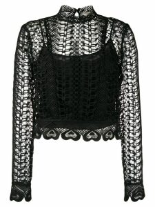 Temperley London Sunbird heart-shaped embroidery blouse - Black