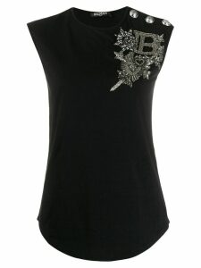 Balmain embellished logo top - Black