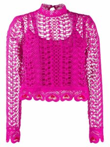 Temperley London Sunrise heart embroidered blouse - PINK