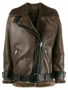 Blancha zipped oversized jacket - Brown