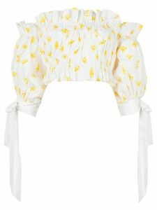 Carolina Herrera printed off shoulder cropped top - White