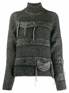 MRZ braided-stripe turtleneck jumper - Black
