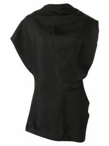 Jil Sander draped neckline sleeveless blouse - Black