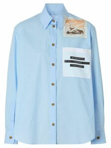 Burberry Montage print oversized shirt - Blue