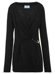 Prada safety pin knitted cardigan - Black
