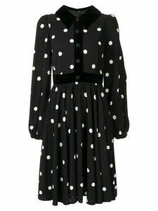 Dolce & Gabbana polka-dot velvet-trim dress - Black