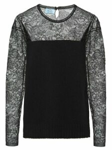 Prada lace panel knitted jumper - Black