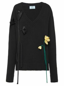 Prada flower apliqués V-neck jumper - Black