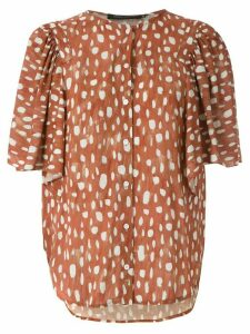 Andrea Marques printed ruffle blouse - Brown