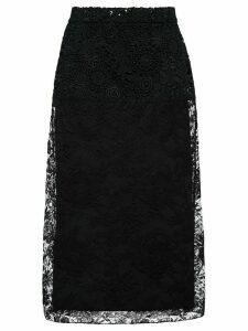 Prada floral lace midi skirt - Black