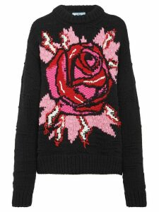 Prada rose intarsia jumper - Black
