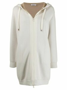 Brunello Cucinelli longline hooded cardigan - White