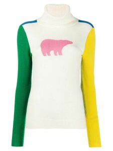 Perfect Moment polar bear colour block jumper - White
