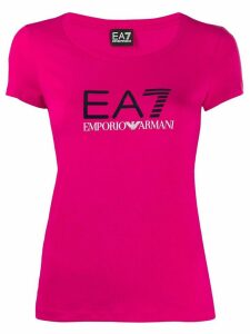 Ea7 Emporio Armani fitted logo print T-shirt - PINK