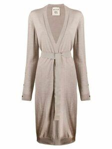 Semicouture tie-waist long cardigan - NEUTRALS