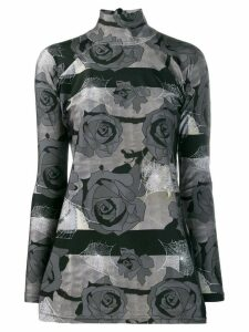 Barbara Bologna floral print mock neck top - Grey