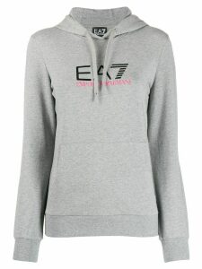 Ea7 Emporio Armani fitted logo print hoodie - Grey