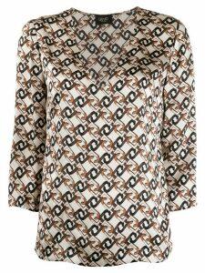 LIU JO monogram print silk blouse - NEUTRALS