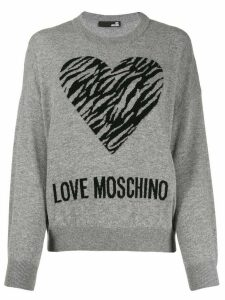 Love Moschino heart jacquard jumper - Grey