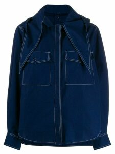 Maison Kitsuné hooded denim shirt - Blue