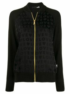 Love Moschino love print bomber jacket - Black