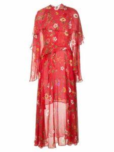 Oscar de la Renta botanical chiffon dress - Red