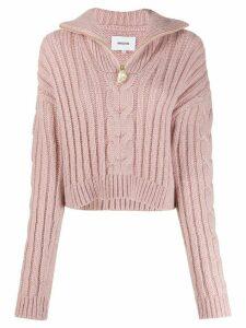 Nanushka half-zip chunky knit jumper - PINK