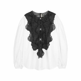 Christopher Kane White Lace-insert Cotton Blouse