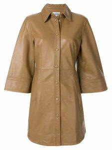 GANNI short-sleeve leather shirt jacket - Brown