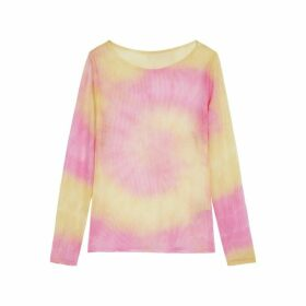 Collina Strada Pink And Yellow Tie-dyed Mesh Top