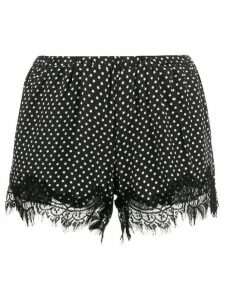 Gold Hawk star print silk shorts - Black