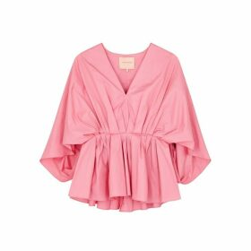 Roksanda Aniya Pink Pleated Cotton Top