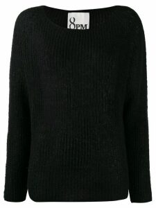 8pm ribbed knit slouchy sweater - Black