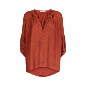 Traffic People Folklore Polka Dot Top In Rust