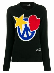 Love Moschino intarsia knit crew neck sweater - Black