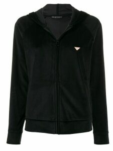 Emporio Armani velour zipped hoodie - Black